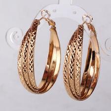 HUCHE Tassel Rings Stunning Yellow Gold Filled Women Hoop Weding Party Earrings