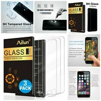 Ailun Tempered Glass Screen Protector For iPhone 8 7 6s 6 HD Clear Pack Of 3 New
