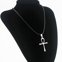 Fashion Men Women Stainless Steel Cross Necklace Pendant Black Leather Chain