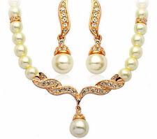 Schmuckset Ohrringe mit Collier simulierte Perlen und Strass
