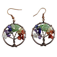 Natural Multicolor Gem Chip Beads Tree of Life Reiki Chakra Copper Hook Earrings