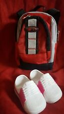 Doll backpack black red Gray school bag pink and white shoes