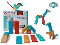 Magnetic Solid Wooden Building blocks, 14PC, STEM learning building tile set