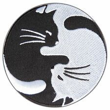 Yin Yang Tao Taoism Cat Kitten Kitty Chinese Hippie Yoga Aum Iron On Patch #0799