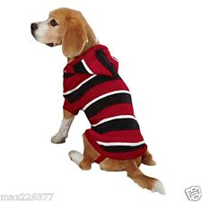 New Dog Striped Knit Hoodie Sweater Hoodies Red Pet Winter Warm Small/Med S/M