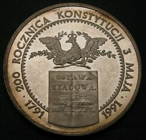 POLAND 200000 Zlotych 1991 Proof - Silver - Polish Constitution - 858