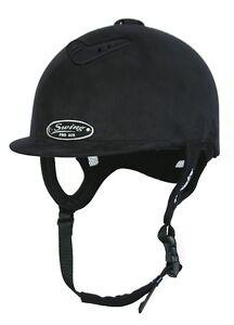Horse Riding Hard Hat Helmet Swing Pro AIR Black Suede Size 52, SALE!