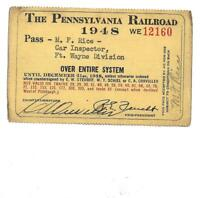 1948 Employee Annual Pass PA Railroad PRR Fort Wayne Division