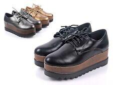 Black Color Round Toe Oxfords Chunky Womens Platform Flatform Heels Size 8.5