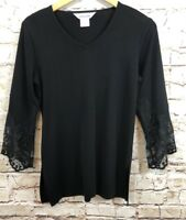 Exclusively Misook shirt top Womens small tunic Black Lace 3/4 Sleeve V Neck R1