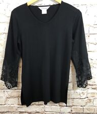 Exclusively Misook shirt top Womens small tunic Black Lace 3/4 Sleeve V Neck AO