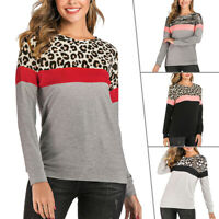Womens Leopard Print Loose Jumper Tops Long Sleeve Casual Baggy Tee Shirt Blouse