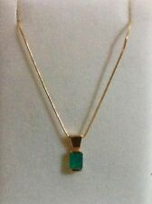 NEW 14K      GENUINE  EMERALD PENDANT on 16 inch 14k SNAKE CHAIN - CUSTOM MADE