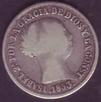 Monete 2 Reali Isabel II 1853 Siviglia - Argento Sterling