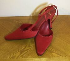 Delman Slingback High Heel NWOB Size 8.5 Red Jeweled Trim Made In Spain