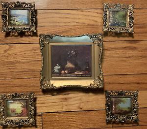 Set 5 MCM Vintage Wall Pictures Ornate Frames  Lot Famous Art Scenes Flowers