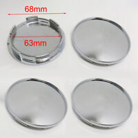 4 x 63mm 68mm Universal Chrome Silver Car Wheel Center Hub Cap Caps Cover Kit