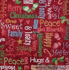 BonEful Fabric FQ Cotton Quilt Red Green White Xmas Stocking Holiday Word Candy