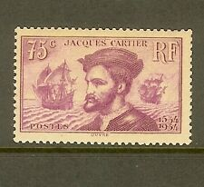 "FRANCE STAMP TIMBRE N° 296 "" JACQUES CARTIER AU CANADA 75c LILAS "" NEUF xx TB"