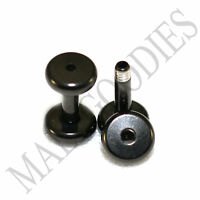 1458 Screw-on / fit Black 12G Gauge 2mm Flesh Tunnels Ear Plugs Earlets Steel