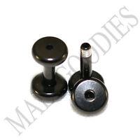 1458 Screw-on / fit Black 12G Gauge 2mm Flesh Tunnels Ear Plugs Earlets Steel
