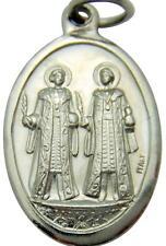 "MRT St Cosmos & Damien Science Saint Catholic Medal Silver Tone Metal 3/4"" Italy"