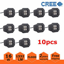 10X 16W Cree Square Flush Mount FLOOD LED Work Light Bumper Off Road Truck SUV