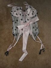 Victoria's Secret Corset Pink/White Black Garter  Size 34C