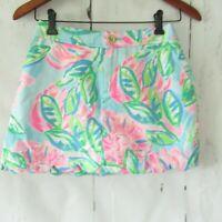 Lilly Pulitzer Colette Scallop Skort Size 00 Blue Floral Pockets Shorts Skirt