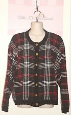 CHRISTOPHER & BANKS ~ Colorful Chenille Plaid Cardigan Classy Sweater Sz L* G++