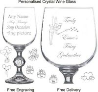 Personalised Engraved Wine Glass, Fairy Godmother, Christening Gift, Tinkerbell