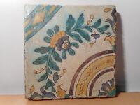 Carreau ancien faience ceramique Afrique Nord Tunise Qallaline art islamique