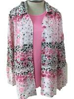Maggie Sweet 2 piece blouse tank top set size L large pink floral long sleeve