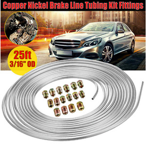 3/16 OD 25Ft Coil Roll Brake Pipe Nickel Line +16x SAE Flare Brake Nuts Fittings