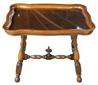 Early 20th C. Antique Walnut Burl Cocktail Tea Glass Top Tray Table Trestle Base