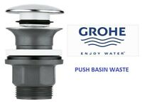 GROHE Clicker Pop Up Basin Waste Large Mushroom Push Click Clack Slotted 40824