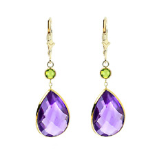 14K Yellow Gold Gemstone Earrings with Pear Shape Amethyst and Round Peridot