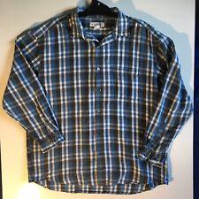 Banana Republic Mens Flanel fleece Long Sleeved Shirt Blue Black White Check XL