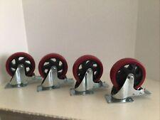 New Listingset Of 4 Heavy Duty Swivel Casters With Lock Brakes 5 Polyurethane Wheels