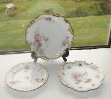 Three Cabinet Plates Dresden Coalport Staffordshire Hand Painted Floral Sprays