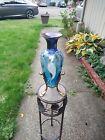 "Fenton Mulberry Hand Painted Mystical Bird Amphora Vase 14"" Rare numbered"