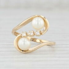 Cultured Pearl Diamond Bypass Ring 14k Yellow Gold Size 5.75