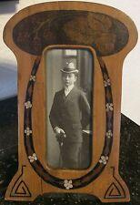 JUGENDSTIL ART DÉCO FOTORAHMEN HOLZ Intarsien, mit alter Fotografie, photo frame