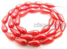 """5*9mm Drop Natural Red Coral Beads for Jewelry Making DIY Necklace Strand 15"""""""