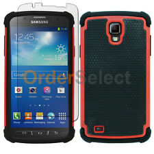 Hybrid Rubber Case+LCD Screen Protector for Samsung Galaxy S4 Active Red 50+SOLD