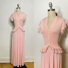 Vintage 40s Rayon Jersey Maxi Dress Size Extra Small