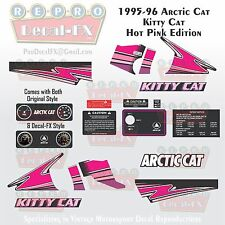 95-96 Arctic Cat Kitty Cat Hot Pink Graphics Decal Reproduction Kit 20 Pieces