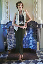 NEW ANTHROPOLOGIE DEAR CREATURES OLIVE PLEATED SAGE MAXI SKIRT SZ L LARGE