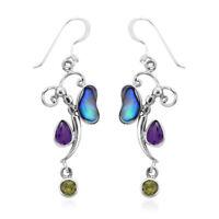 BALI LEGACY 925 Sterling Silver Amethyst Peridot Drop Dangle Earrings Ct 1.4
