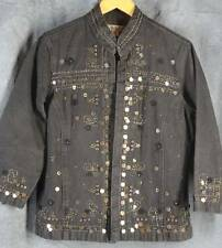 Coldwater Creek Medium Black Denim Open Front Jacket Embroidered